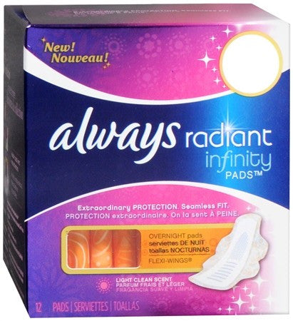 Always Radiant Infinity Pads Overnight with Flexi-Wings Light Clean Scent - 12 ea