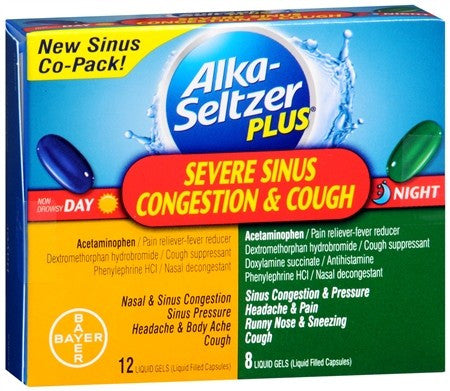 Alka-Seltzer Plus Severe Sinus Congestion & Cough Day & Night Liquid Gels - 20 caps