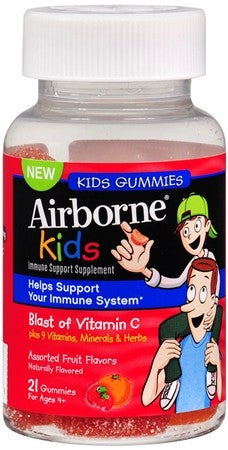 Airborne Kids Immune Support Dietary Supplement Gummies Assorted Fruit Flavors - 21 ea