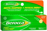 Berocca Mental Sharpness + Physical Energy Vitamin Mineral Supplement Effervescent Tablets Orange Flavor - 10 tabs