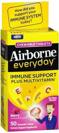 Airborne Everyday Immune Support plus Multivitamin Chewable Tablets Berry - 50 tabs