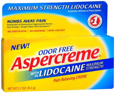 ASPERCREME Pain Relieving Creme with Lidocaine Maximum Strength - 2.7 oz