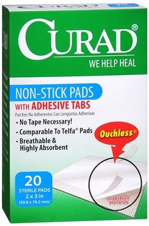 Curad Non-Stick Pads with Adhesive Tabs 2 Inches x 3 Inches - 20 ea