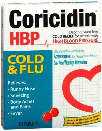 Coricidin HBP Tablets Cold and Flu - 10 tabs