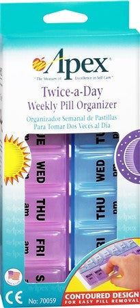 Apex Twice-A-Day Weekly Pill Organizer - 1 ea