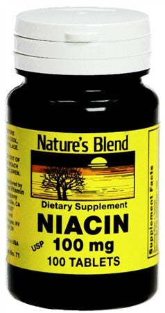 Nature's Blend Niacin 100 mg Tablets - 100 tabs