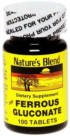 Nature's Blend Ferrous Gluconate Tablets - 100 tabs