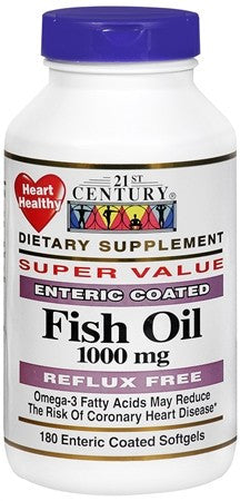 21st Century Fish Oil 1000 mg Enteric Coated Softgels - 180 caps