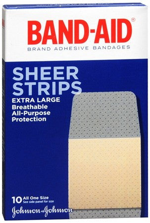 BAND-AID Sheer Strips Bandages Extra Large - 10 ea
