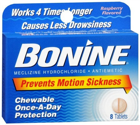 Bonine Motion Sickness Chewable Tablets Raspberry Flavored - 8 tabs