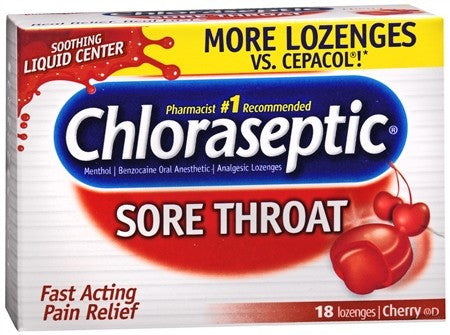 Chloraseptic Sore Throat Lozenges Cherry - 18 ea