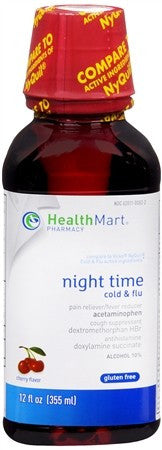 Health Mart Night Time Cold & Flu Liquid Cherry Flavor - 12 oz