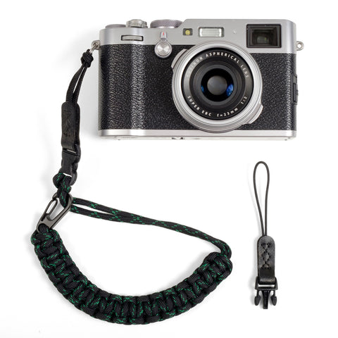 Braided Camera Wrist Strap - Black with Green
