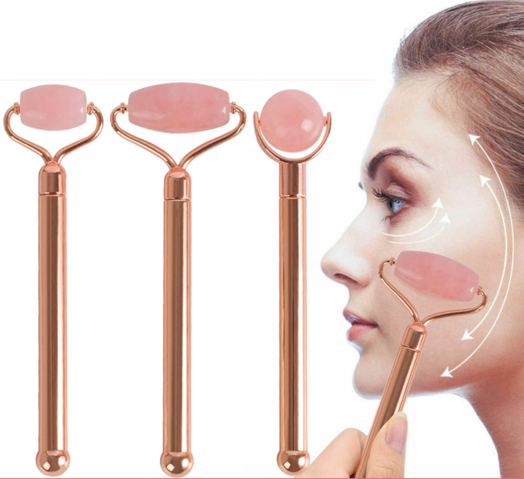 Rose Quartz Vibrating Facial Jade Derma Roller & Massager High-Vibrating Battery-Powered, Provides Natural Detoxification Process for Glowing Skin by Eximius Power