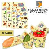 Eximius Power Animal Design Fun for Kids Beeswax Food Reusable Wraps - Eco Friendly, Organic, Biodegradable, Zero Waste, Sustainable Products Made from Jojoba Oil & Tree Resin 3 Sizes (S, M, L)