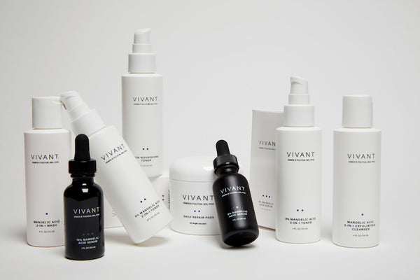 Studio photo of Vivant's mandelic acid cleansers, toners, and serums.