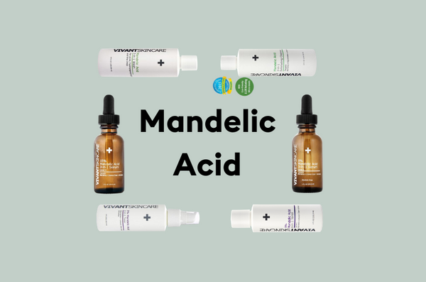 Vivant's Mandelic Acid products on a faded green background