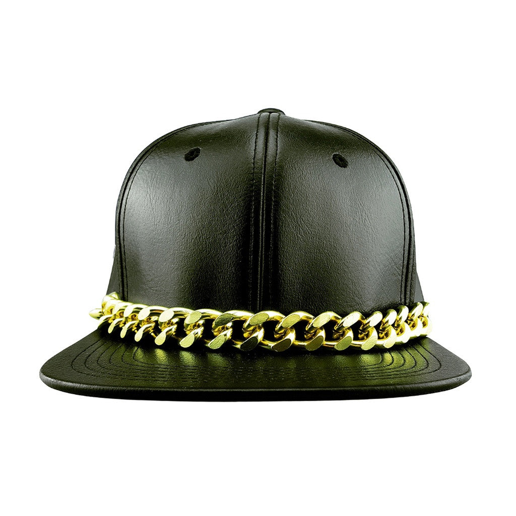 3c6ea88b3 Faux Leather Snapback Hat with Glod Chain – Houzz of Threadz
