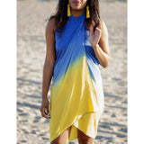Beach Glam Yellow and Blue Silk Sarong