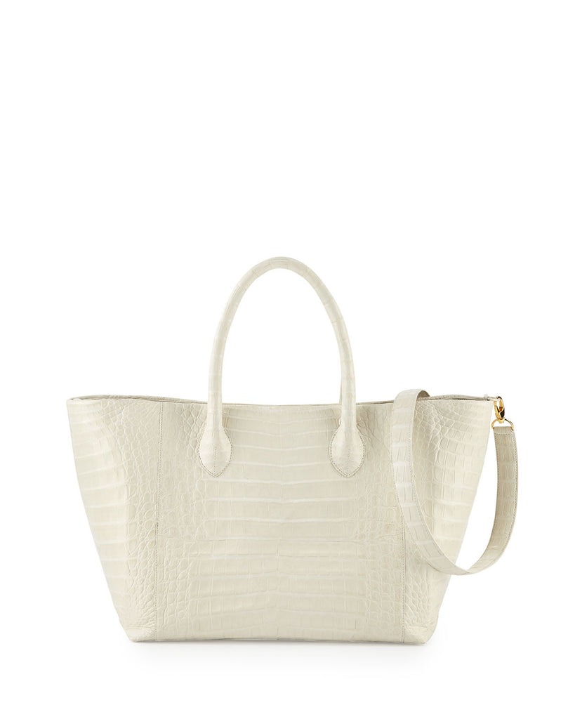 Crocodile Medium Convertible Tote Bag, Ivory - CREAM - Nancy Gonzalez - 1