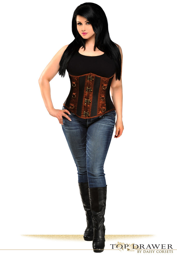 Top Drawer Black & Brown Steel Boned Underbust Corset - S - Daisy Corsets - 9