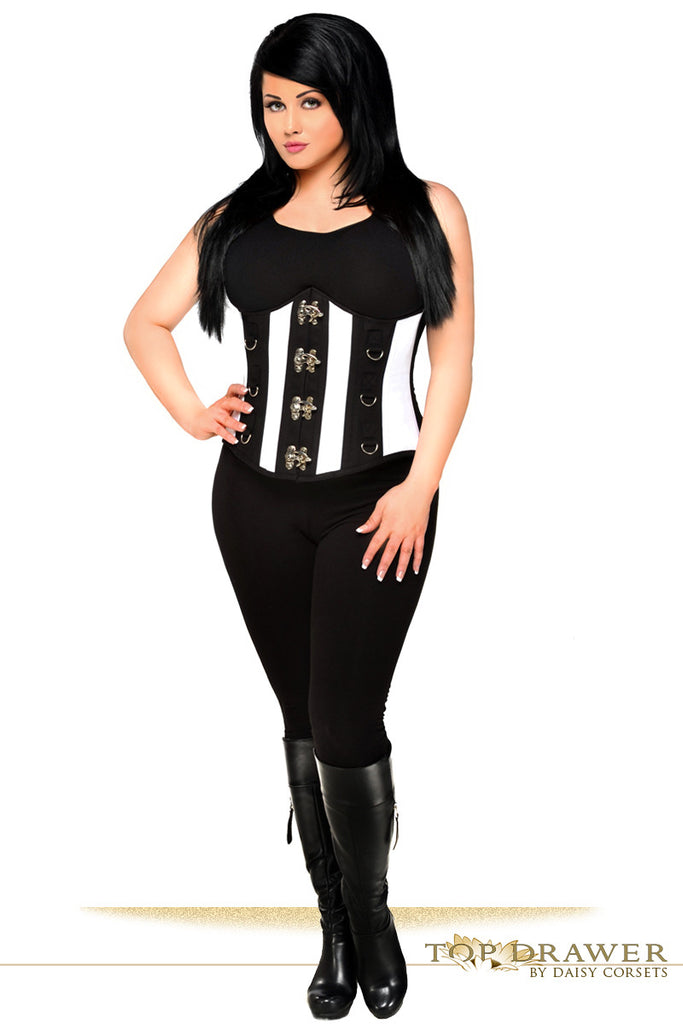 Top Drawer Black & White Steel Boned Underbust Corset -  - Daisy Corsets - 1