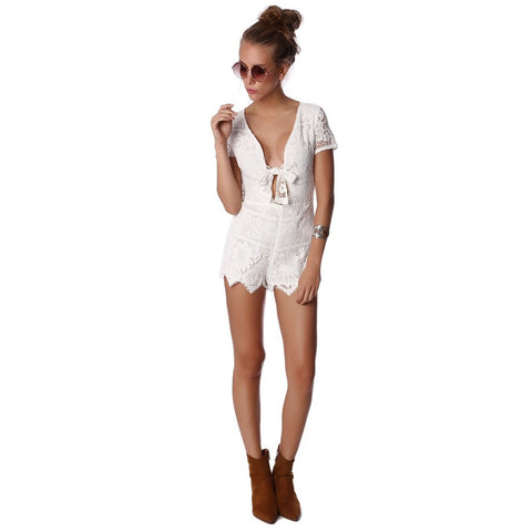 290fb1ec288 White Crochet Romper with Front Bow – Houzz of Threadz