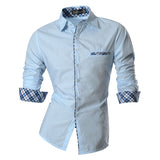 2016 Spring Autumn Features Shirts Men Casual Jeans Shirt New Arrival Long Sleeve Casual Slim Fit Male Shirts Z020 - LightBlue / S - Houzz of Threadz - 2