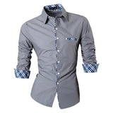 2016 Spring Autumn Features Shirts Men Casual Jeans Shirt New Arrival Long Sleeve Casual Slim Fit Male Shirts Z020 - Gray / S - Houzz of Threadz - 3