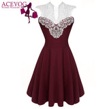 ACEVOG Women Summer Lace Dress Sexy vestidos 2016 Lady Sleeveless Lace Patchwork High Waist Pleated Casual Knee Length Dress -  - Houzz of Threadz - 1