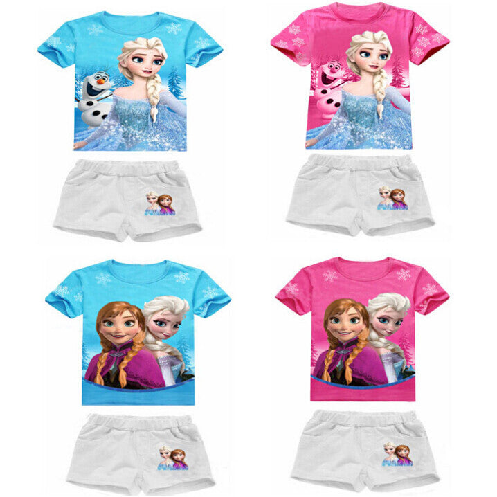 2016 New High Quality Summer Baby Girls Elsa Anna Clothes Sports Suit Short Sleeve T-shirt +Shorts Kids Childrens Clothing Sets -  - Houzz of Threadz