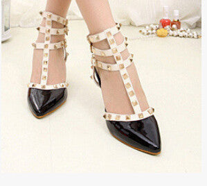 2016 Hot Women summer Pumps Ladies Sexy Pointed Toe Gladiator High Heels Fashion Buckle Studded Stiletto Sandals Shoes 5C08 - black / 4.5 - Houzz of Threadz - 2