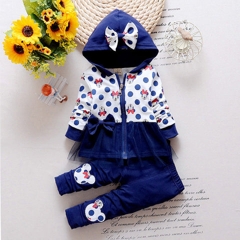2016 Newest Spring Baby Girls Minnie Suits Korean Casual Kids Cotton Hooded Coat+Pants 2 Pcs Suits Infant/Newborn Clothes Suits -  - Houzz of Threadz - 1