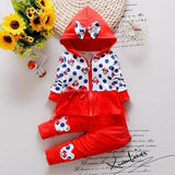 2016 Newest Spring Baby Girls Minnie Suits Korean Casual Kids Cotton Hooded Coat+Pants 2 Pcs Suits Infant/Newborn Clothes Suits - Red / 7-9 months - Houzz of Threadz - 3