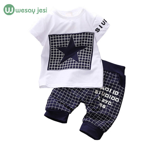 Baby boy clothes 2016 Brand summer kids clothes sets t-shirt+pants suit clothing set Star Printed Clothes newborn sport suits -  - Houzz of Threadz