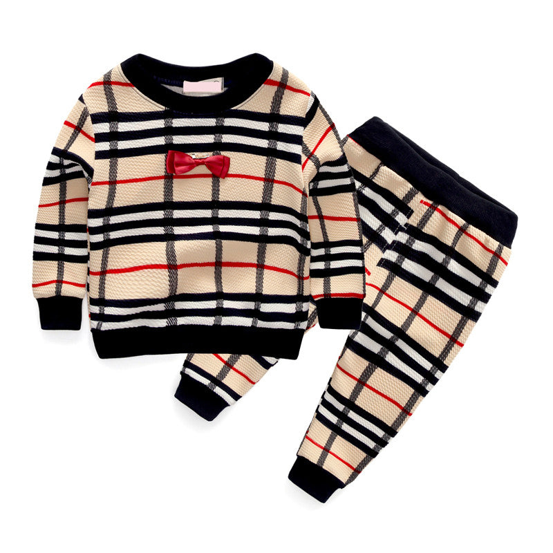 2016 spring fashion plaid baby boys clothing sets bow tie style long sleeve + pants suits for infant boy clothes tracksuits -  - Houzz of Threadz