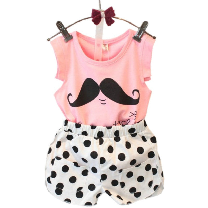 2016 Summer Style Baby Girls Clothing Set Sleeveless T-shirt+Polka Dot Pant 2pcs/set Kids Cotton Clothes Set 2-8 Years KF064 -  - Houzz of Threadz