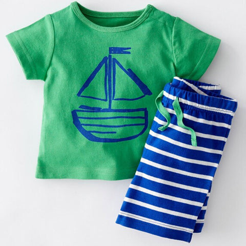 2016 summer kid striped chilren clothing sets casual style boys girls clothing tee+shorts suit kids clothes -  - Houzz of Threadz - 1