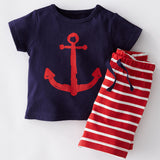 2016 summer kid striped chilren clothing sets casual style boys girls clothing tee+shorts suit kids clothes - Navy Blue / 3T - Houzz of Threadz - 2