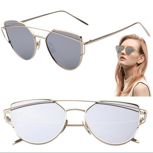 2016 New Cat Eye Aviator Sunglasses Women Vintage Fashion Metal Frame Mirror Sun Glasses Unique Flat Ladies Sunglasses UV400 -  - Houzz of Threadz - 1