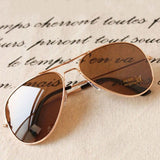 2016 New Women's Men's Classic Aviator Silver Mirrored Lens Brown Gold Black Sunglasses ---0592 - Coffee No4 - Houzz of Threadz - 3