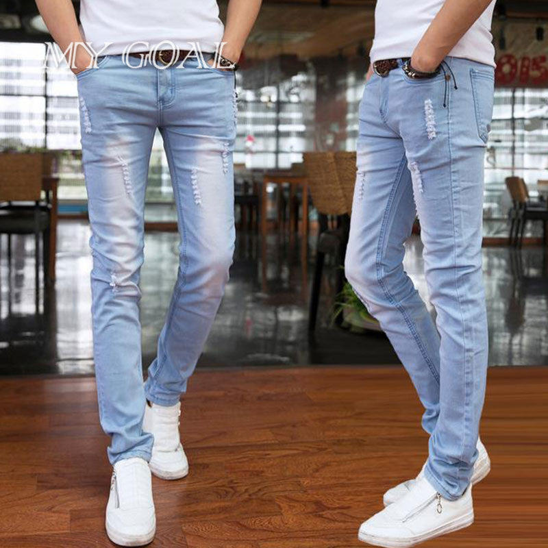 2016 spring and summer new men's jeans pants Korean style influx sky blue casual trousers cool stretch man pants 2 colors jeans -  - Houzz of Threadz