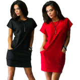 2016 Fashion Summer women dresses sexy o-neck Black and red dress Casual Batwing Short sleeve pockets mini Shirt Dress -  - Houzz of Threadz - 1
