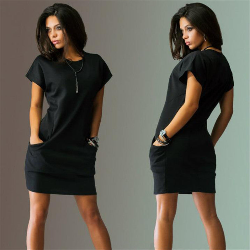 2016 Fashion Summer women dresses sexy o-neck Black and red dress Casual Batwing Short sleeve pockets mini Shirt Dress - Black / S - Houzz of Threadz - 2