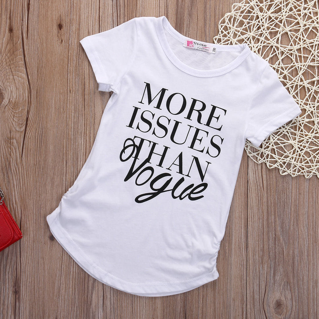 Baby Girls Fashion Cotton Short sleeve T-shirt - White / 3T - Houzz of Threadz - 2
