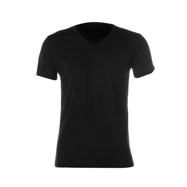 Men Slim Fit Cotton V-Neck Short Sleeve T-Shirt - Black / M - Houzz of Threadz - 2