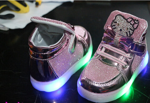 Hello Kitty Rhinestone Led Girls Princess Cute Shoes With Light -  - Houzz of Threadz - 1