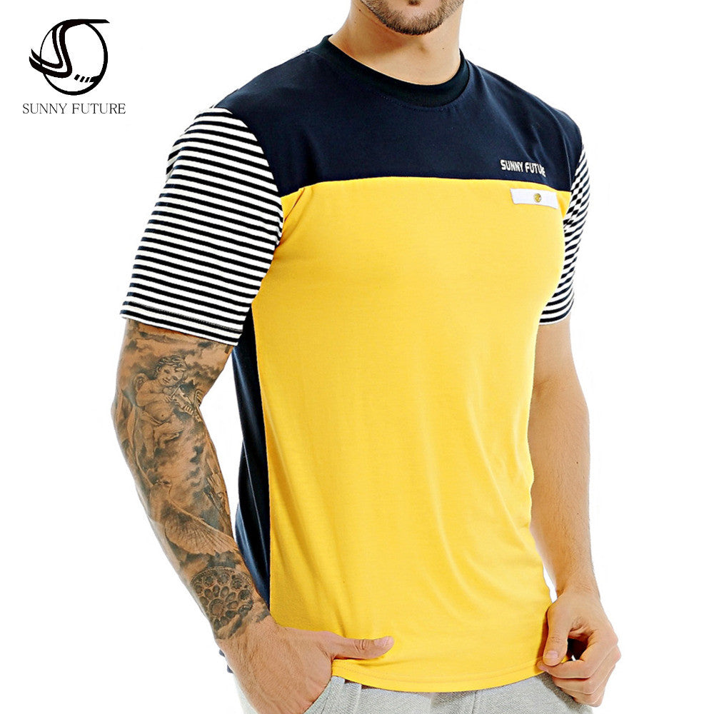 2016 Summer SUNNY FUTURE Brand Fashion Men T Shirt Cotton Short Sleeved Casual T-Shirt striped Men's clothing swag tops tees -  - Houzz of Threadz - 1