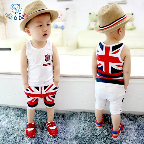 Baby&Kids 2016 Fashion Cotton Baby Boy Clothes Newborn Infant Sleeveless National Flag Printed Vest Pants Clothing Set Bebes -  - Houzz of Threadz