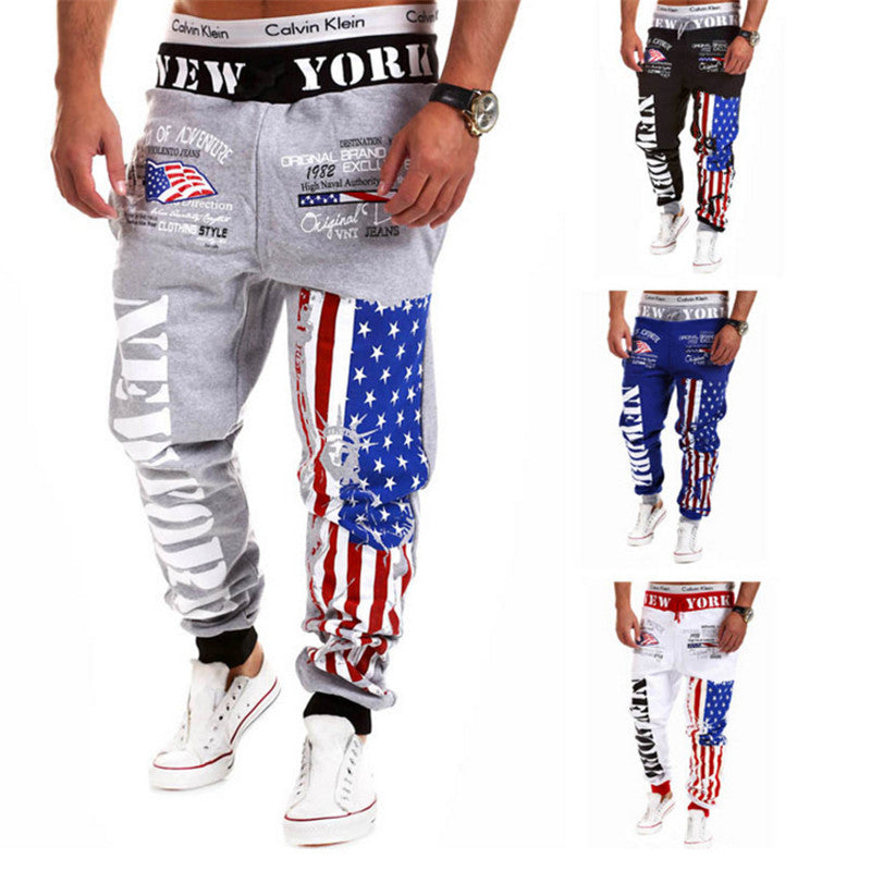 2016 New Men's Casual Letters Flag Printed Lace Pants Jogger Male Personality Outdoor Fashion Sports Pants Free Shipping -  - Houzz of Threadz